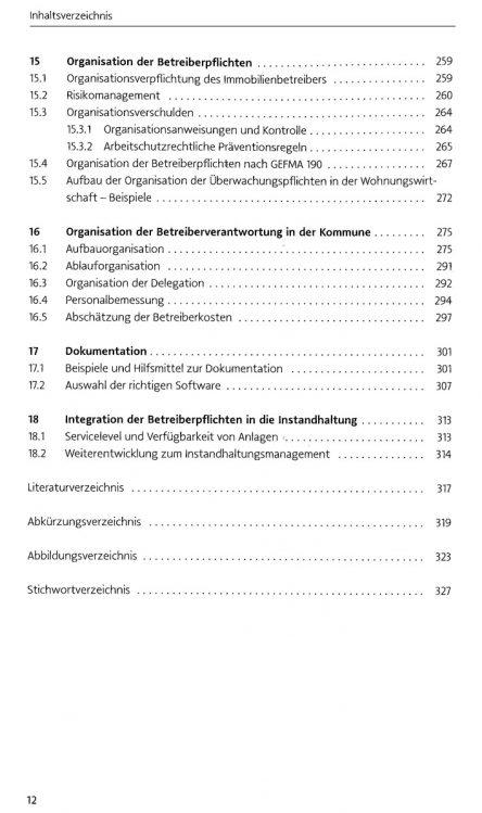 Verkehrssicherungspflichten in der Immobilienwirtschaft - Inhaltverzeichnis Seite 8